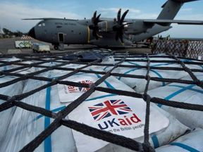 The UK aid package includes much-needed aircargo handling equipment