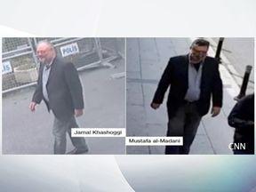 Jamal Khashoggi and his 'body double'. Pic: CNN
