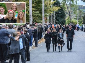 (L-R): Allison King, Abby Jackson, Mary Dyson and Amy Steenburg and mourners at their funeral