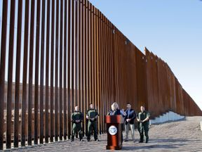 Kirstjen Nielsen speaks as the first phase of the border wall was unveiled