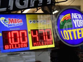 A sign displays the Mega Millions and Power Ball lottery jackpots on October 19, 2018 in New York City. - The Mega Millions jackpot is currently up to USD 1 billion