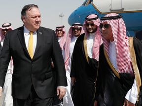 Mike Pompeo was greeted by Saudi foreign minister Adel al-Jubei