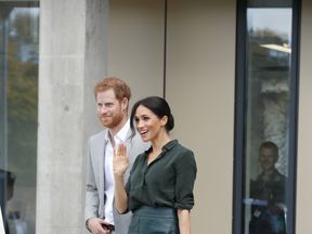 Prince Harry and Meghan, Duchess of Sussex leave after a visit to the University of Chichester Tech Park