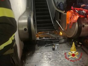 Images shared by the fire and rescue service showed the damage done to some of the steps. Pic: Vigili del Fuoco