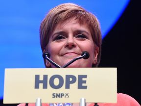 Scotland's First Minister and leader of the Scottish National Party (SNP) Nicola Sturgeon delivers her keynote speech