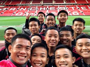 Thai cave boys visit Old Trafford