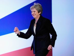 Theresa May dances onto stage for her leaders speech at the Tory Conference