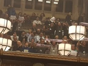 WASPI women protest during the budget Pic: Twitter/@RhonddaBryant