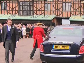 The groom, Jack Brooksbank, arriving for the service