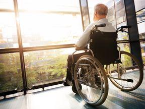 Senior Man in Wheelchair - Stock image