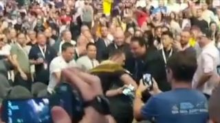 Fight breaks out in crowd at Conor McGregor weigh-in in Las Vegas