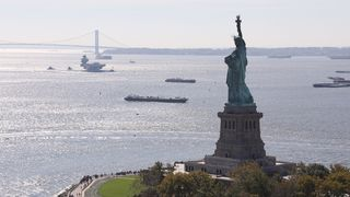 The Statue of Liberty watches on as the warship arrives in New York. Pic: Royal Navy