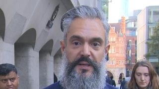 John Frade, husband of Westminster attack victim Aysha Frade gives a statement outside her inquest