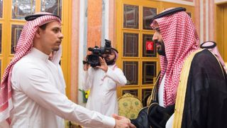 Salah Khashoggi, Jamal Khashoggi's son, meets Mohammed Bin Salman. Pic: Saudi Press Association