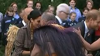 The Duchess of Sussex gets a traditional Maori greeting in Wellington, New Zealand