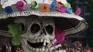 Giant skeletons join the festivities in Mexico City for the Day of the Dead parade