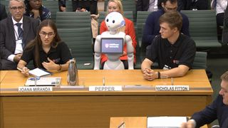 The robot works with students at Middlesex University