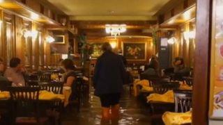 Restaurants in Venice are flooded as high winds push water levels high above normal