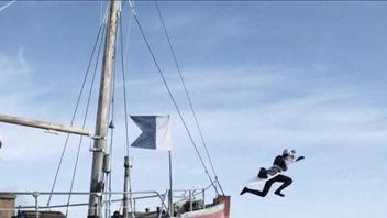 Russian wakeboarder Nikita Martyanov performs stunts in Greenland