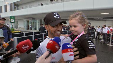 Hamilton celebrates 80th F1 pole