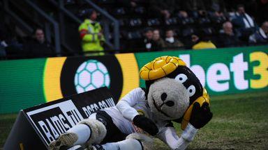 Derby mascot's deliberate dive