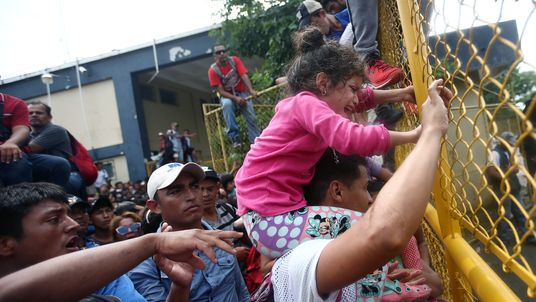 A child at the checkpoint between Guatemala and Mexico in Tecun Uman