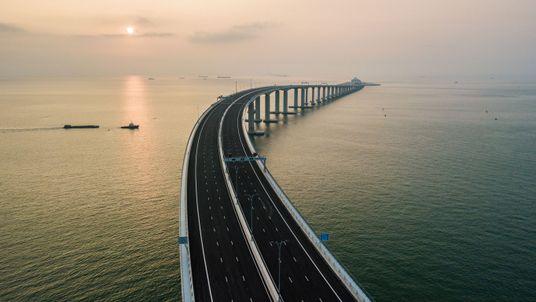 The bridge is the longest sea crossing in the world