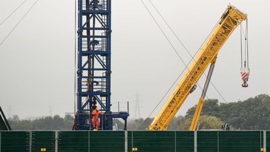 Activity could be seen inside the fracking site on Friday