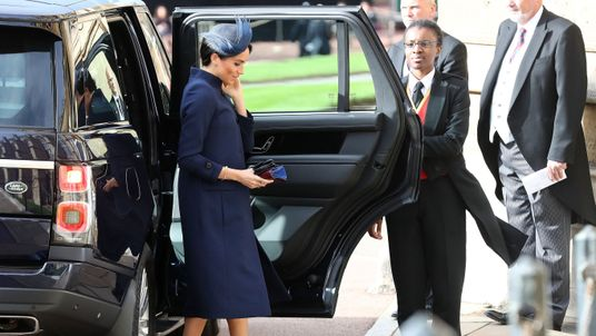 Meghan, Duchess of Sussex arrives to attend the wedding of Princess Eugenie of York