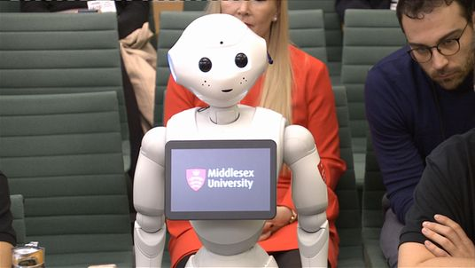 Pepper the robot answered questions from the education select committee