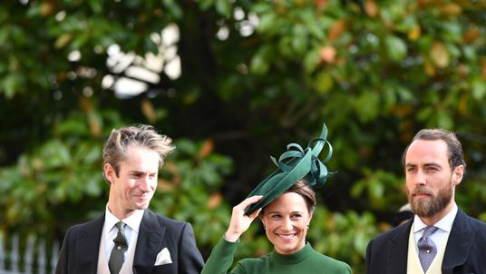 Pippa Middleton with her husband and brother (right) at Princess Eugenie's wedding