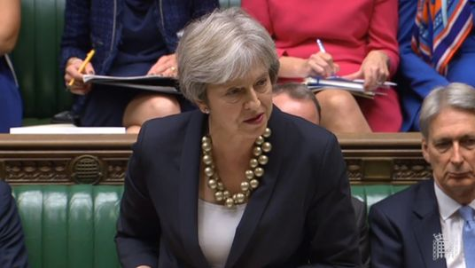 Prime Minister Theresa May making a statement in the House of Commons in London about the European Council summit.