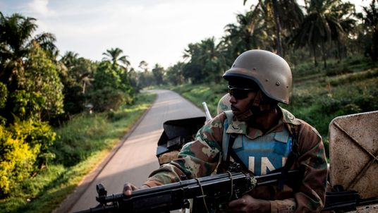 A UN peacekeeping soldier patrols to hold off attacks from the Allied Democratic Forces. File pic