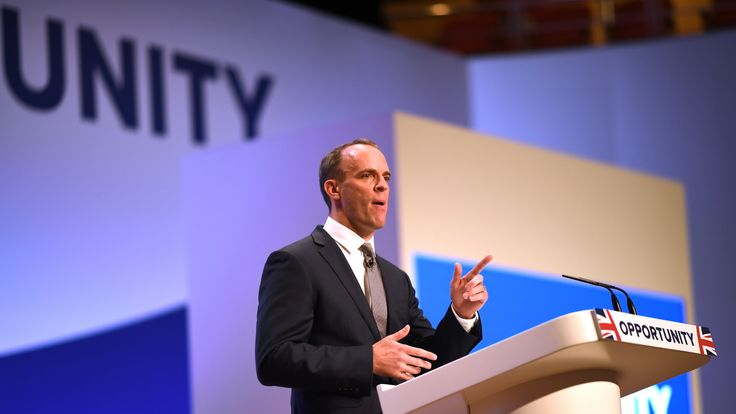 BIRMINGHAM, ENGLAND - OCTOBER 01: Secretary of State for Exiting the European Union Dominic Raab speaks during day two of the annual Conservative Party Conference on October 1, 2018 in Birmingham, England. (Photo by Jeff J Mitchell/Getty Images)