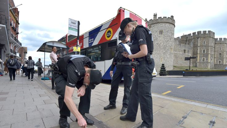 Police conduct security searches around Windsor ahead of the wedding