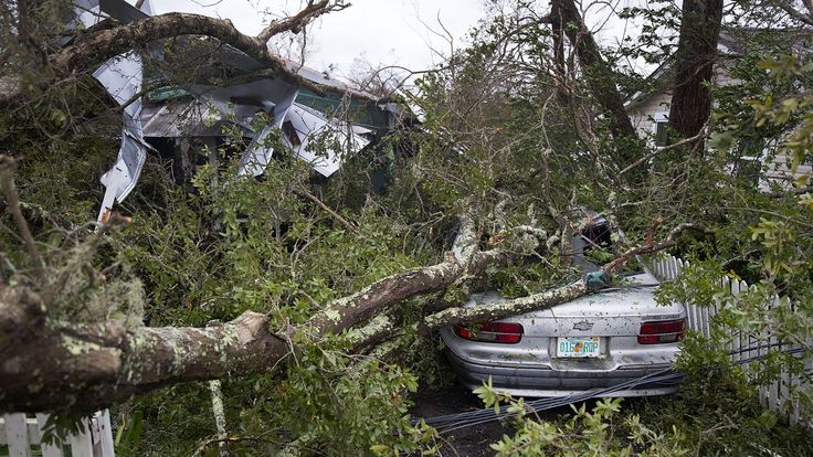 Hurricane damage in in Panama City, Florida