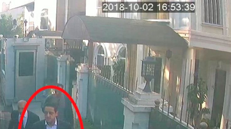 Surveillance camera footage of a man, previously seen with Saudi Crown Prince Mohammed bin Salman's entourage, outside the Saudi consul general's residence in Istanbul