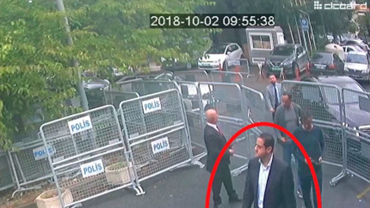 Surveillance camera footage of a man, previously seen with Saudi Crown Prince Mohammed bin Salman's entourage, walking towards the Saudi Consulate in Istanbul just before writer Jamal Khashoggi disappeared