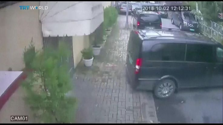 Vans and vehicles leave the Saudi consulate in Istanbul