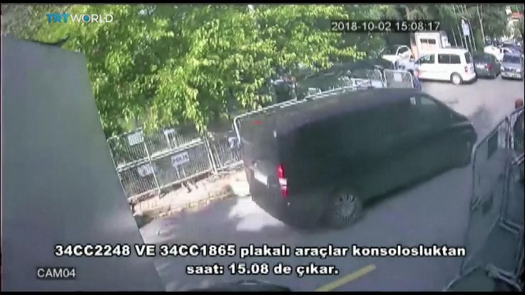 A black van arrives at the Saudi consulate in Istanbul