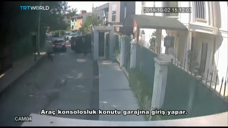 A black van enters a garage at the Saudi consulate in Istanbul