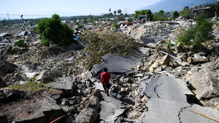 A road destroyed after the ground was affected by liquefaction in Palu