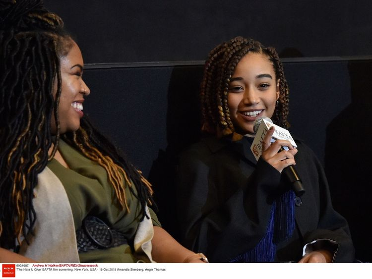 'The Hate U Give' BAFTA film screening, New York, USA - 16 Oct 2018 Angie Thomas (left), Amandla Stenberg