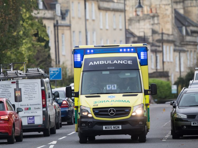 BATH, ENGLAND - OCTOBER 23: A ambulance is pictured as vehicles travel along the London Road during the morning rush-hour on October 23, 2018 in Bath, England. The historic city of Bath, a UNESCO World Heritage site, is considering introducing a Clean Air Zone (CAZ) by the end of 2020.