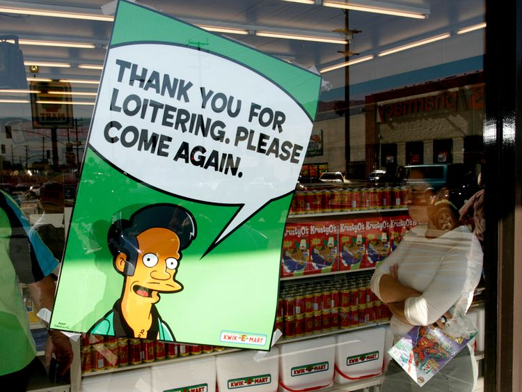 Apu's catchphrase is 'thank you, come again'