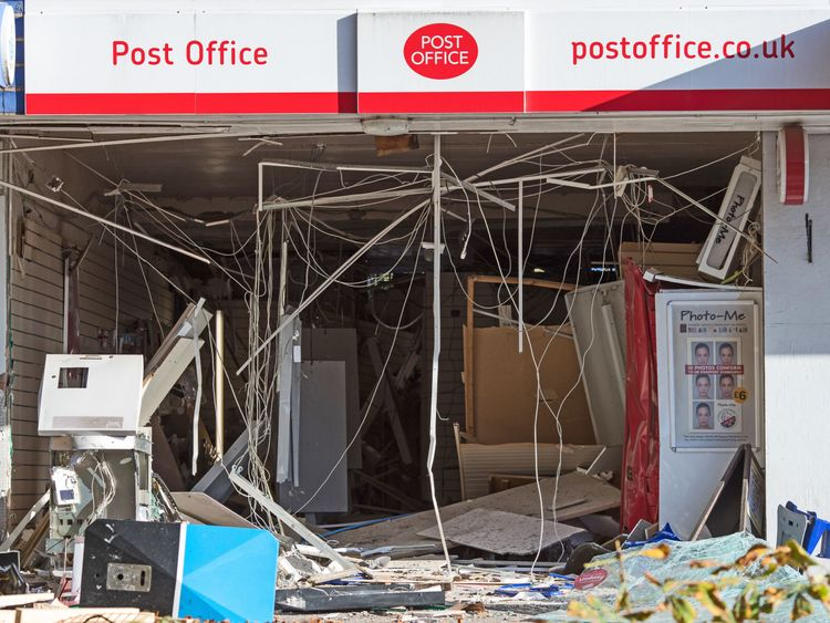 The scene after an explosion during an ATM raid during the early hours of the morning at a Post Office in Spondon, Derbyshire. PRESS ASSOCIATION Photo. Picture date: Monday October 22, 2018. See PA story POLICE ATM. Photo credit should read: Aaron Chown/PA Wire