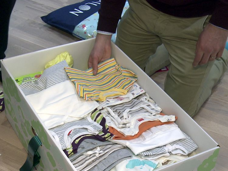 The contents of a Finnish baby box, where the idea originates