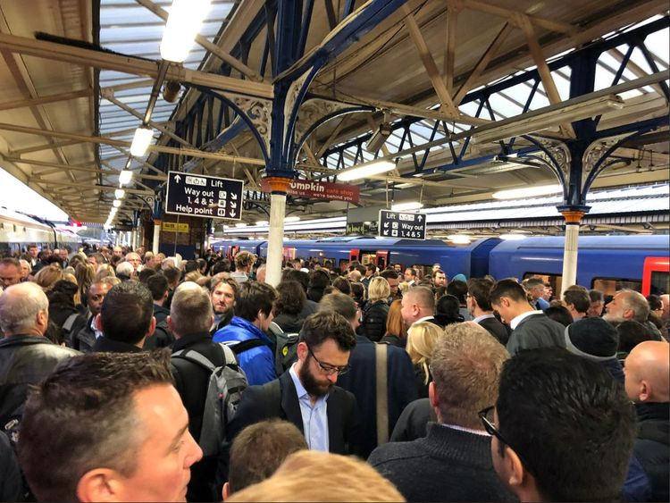 Basingstoke station has been crowded because of the signal failure. Pic: Ken Glendinning