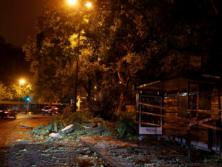 Tree branches were brought down in Benfica as storm Leslie hit