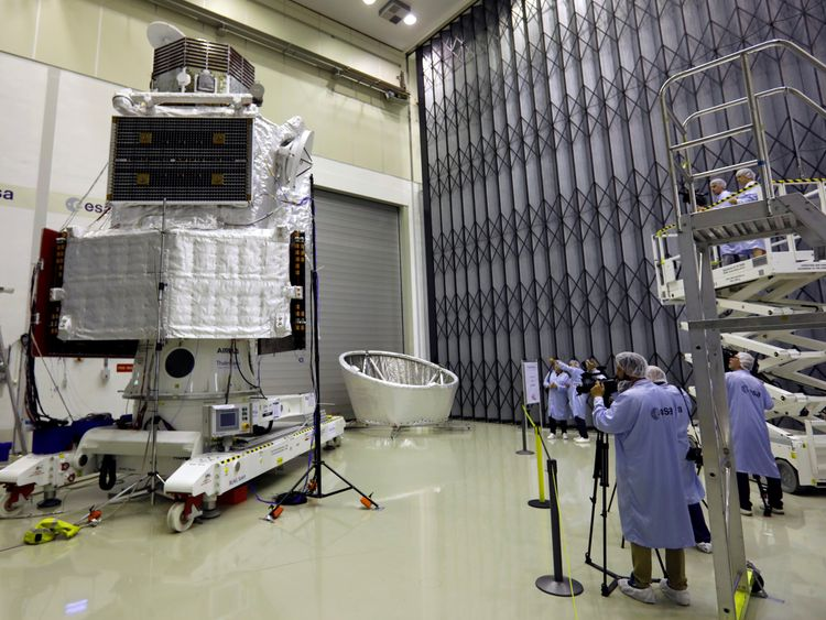 The spacecraft BepiColombo is seen at the European Space Agency's (ESA) European Space Research and Technology Centre (ESTEC) in Noordwijk, Netherlands, July 6, 2017